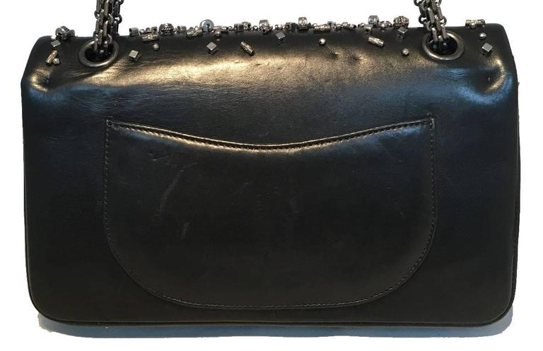 Women's Chanel Black Leather Studded Classic Flap 2.55 Shoulder Bag For Sale