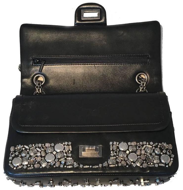 RARE Chanel Black Leather Studded Classic Flap 2.55 Shoulder Bag 6