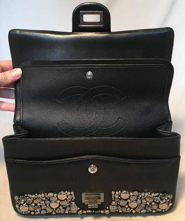 RARE Chanel Black Leather Studded Classic Flap 2.55 Shoulder Bag 7