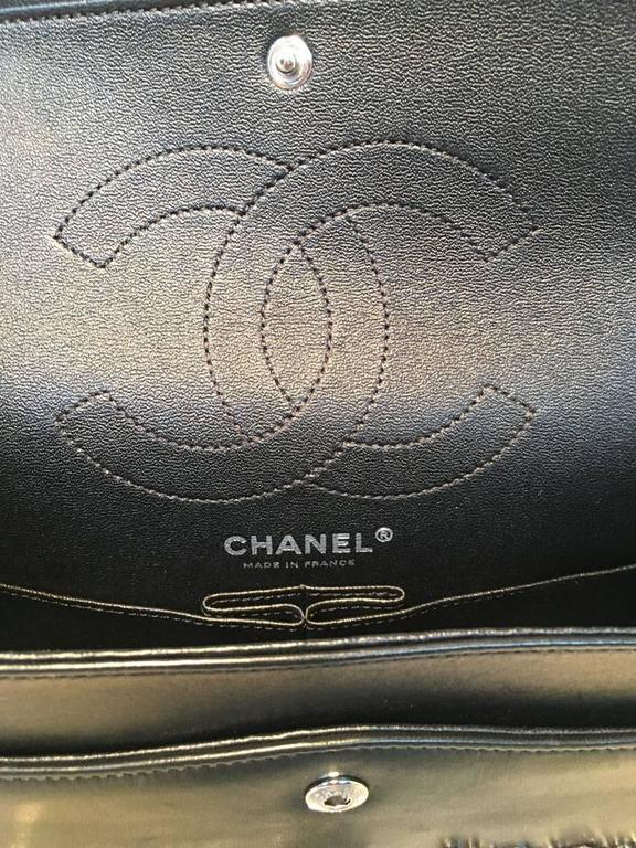 Chanel Black Leather Studded Classic Flap 2.55 Shoulder Bag For Sale 6