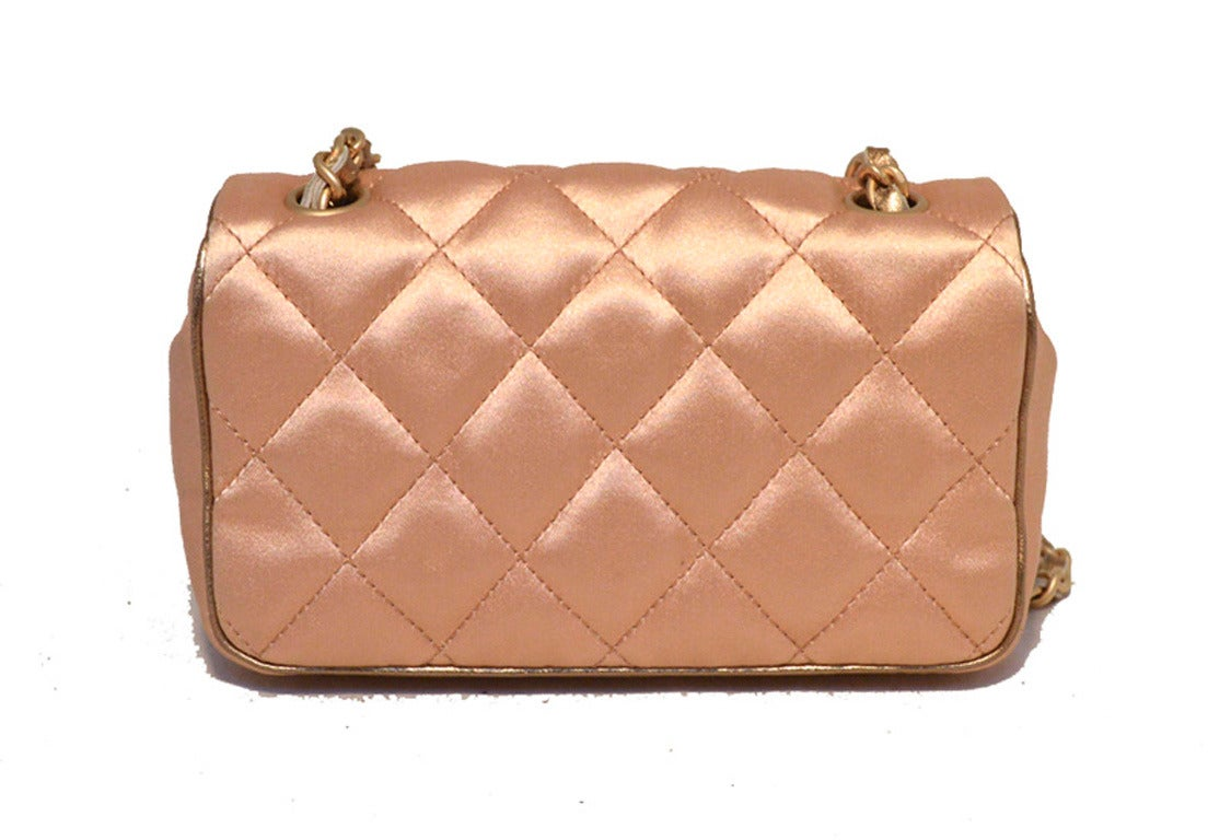 Brown Chanel Pale Pink Quilted Satin Mini Classic Flap Evening Bag For Sale