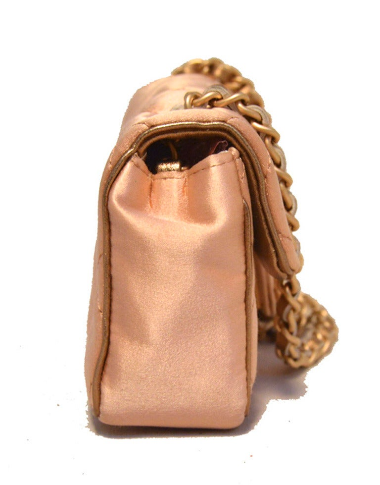 Chanel Pale Pink Quilted Satin Mini Classic Flap Evening Bag 2