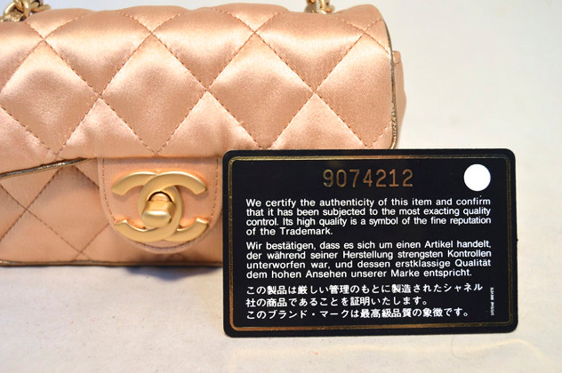 Chanel Pale Pink Quilted Satin Mini Classic Flap Evening Bag For Sale 3