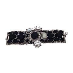 Chanel Black Wool and Gunmetal limited Edition Charm Bracelet