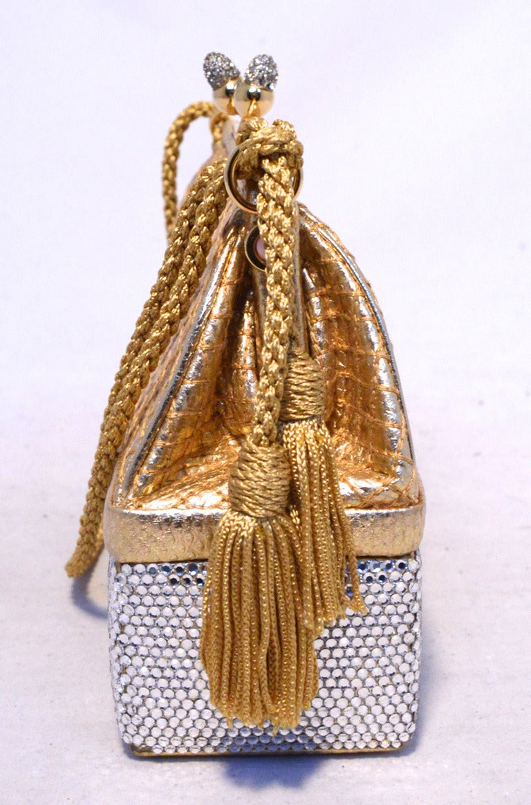 Judith Leiber Gold Leather and Swarovski Crystal Two-tier Evening bag Minaudiere 8