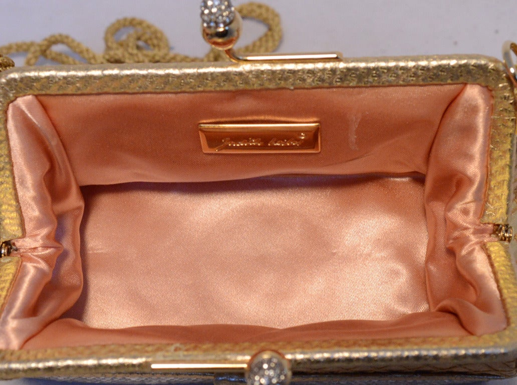 Judith Leiber Gold Leather and Swarovski Crystal Two-tier Evening bag Minaudiere 4