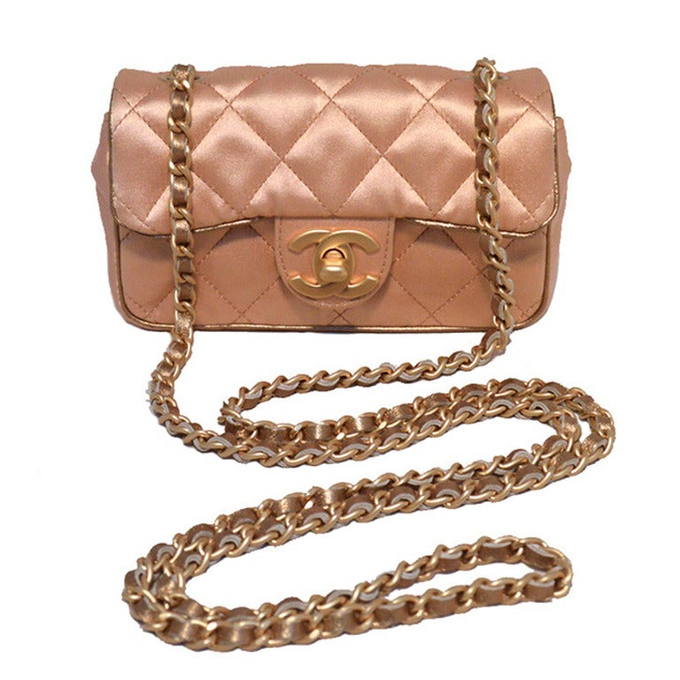 Chanel Pale Pink Quilted Satin Mini Classic Flap Evening Bag