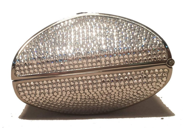 Brown Judith Leiber Swarovski Crystal Lip Print Minaudiere Evening Bag For Sale