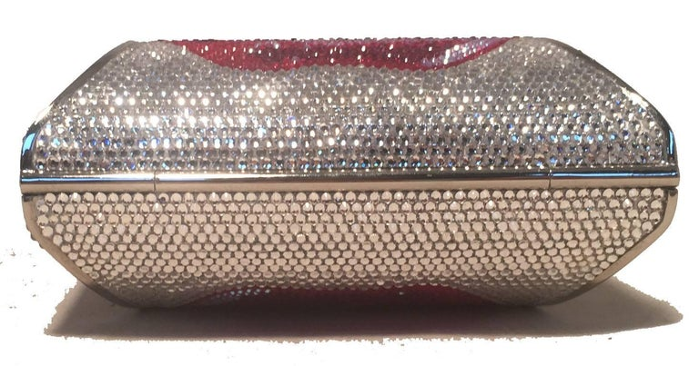 Judith Leiber Swarovski Crystal Lip Print Minaudiere Evening Bag In Excellent Condition For Sale In Philadelphia, PA