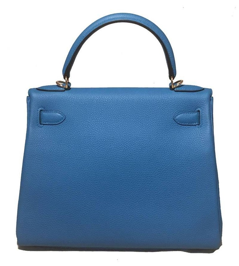 cd840d527a5c DROP DEAD GORGEOUS NEW Hermes Zanzibar blue togo leather 28cm kelly in new  excellent condition.
