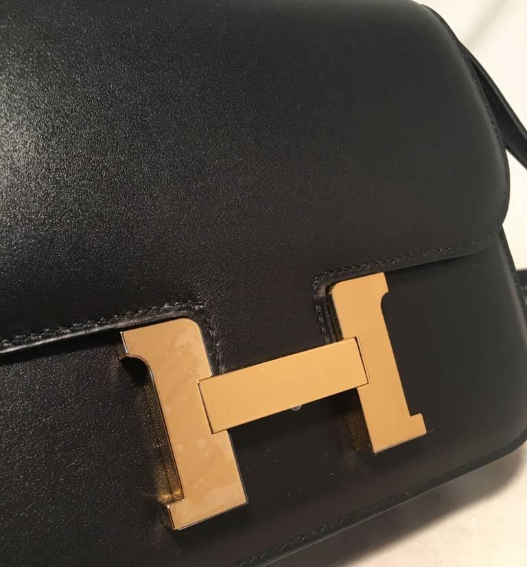Hermes 18cm Mini Black Box Calf Constance Shoulder Bag For Sale 4