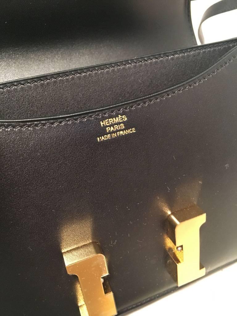 Hermes 18cm Mini Black Box Calf Constance Shoulder Bag For Sale 6