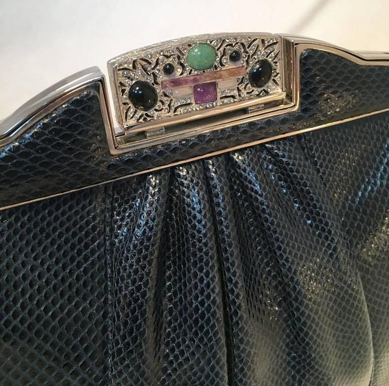 Judith Leiber Vintage Navy Blue Lizard Clutch For Sale 1