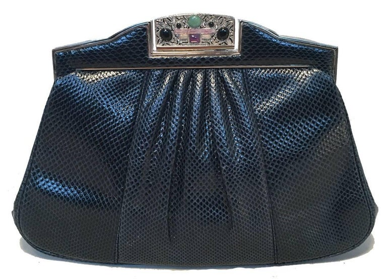 Black Judith Leiber Vintage Navy Blue Lizard Clutch For Sale