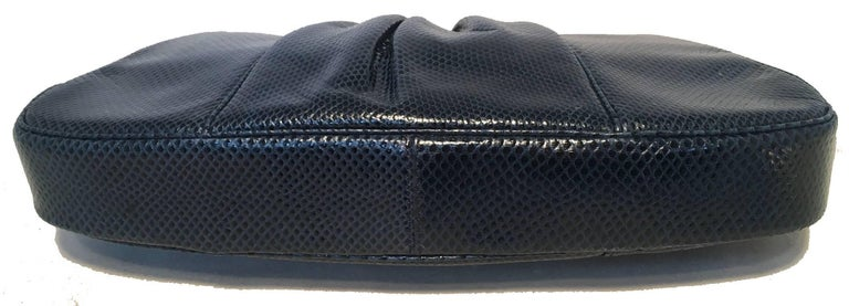 Judith Leiber Vintage Navy Blue Lizard Clutch For Sale 2