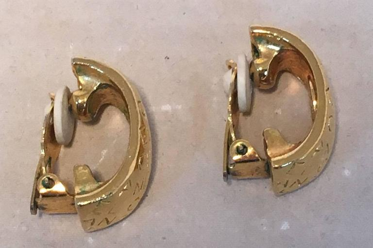 Chanel Vintage Gold Hoop Two Way Earrings For Sale 2