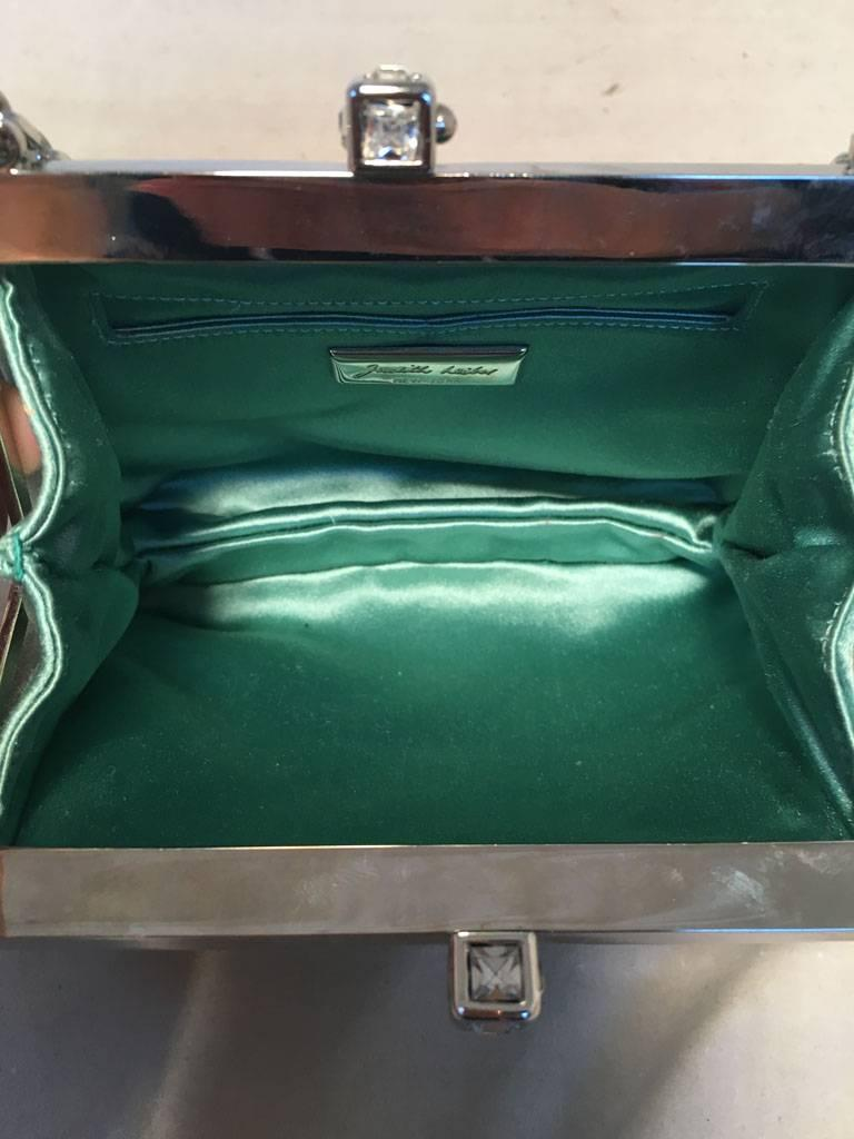 Judith Leiber Teal Silk and Swarovski Crystal Mini Evening Bag  6