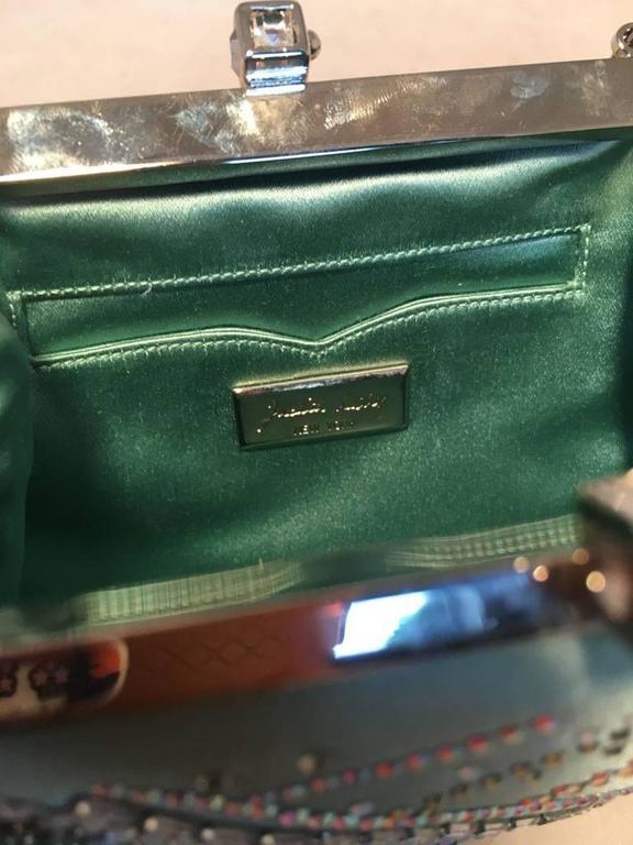 Judith Leiber Teal Silk and Swarovski Crystal Mini Evening Bag  For Sale 2