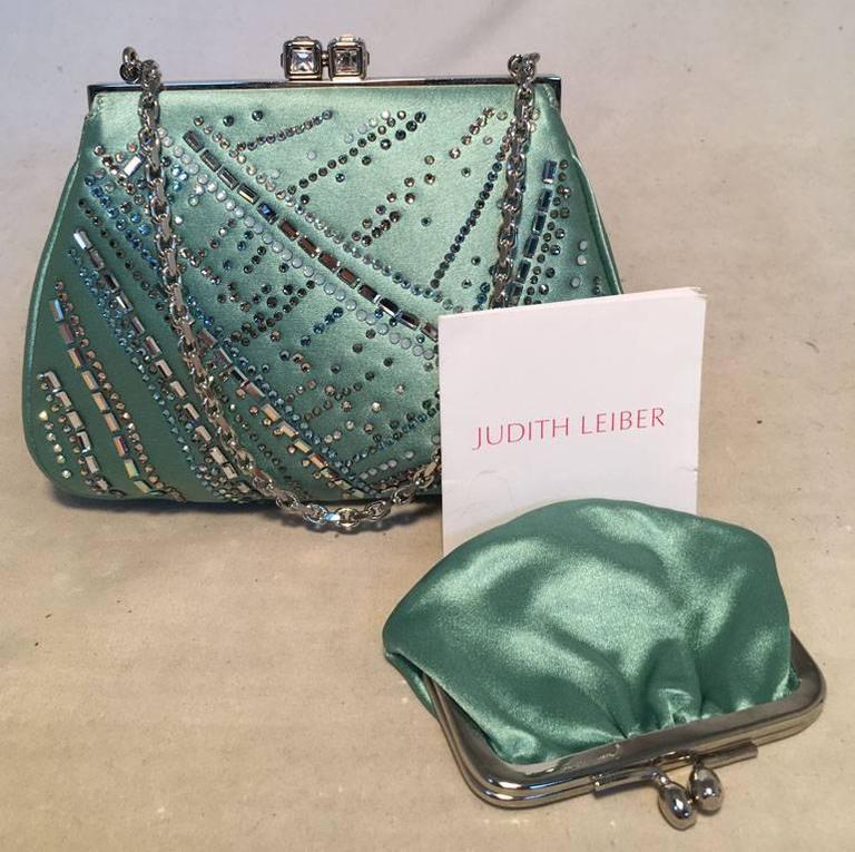 Women's Judith Leiber Teal Silk and Swarovski Crystal Mini Evening Bag  For Sale
