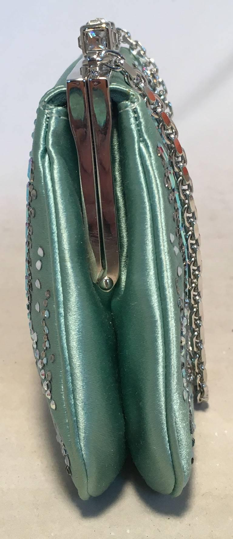 Judith Leiber Teal Silk and Swarovski Crystal Mini Evening Bag  3