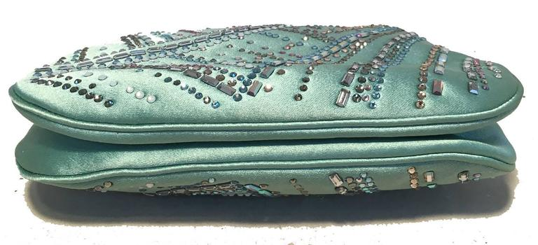 Judith Leiber Teal Silk and Swarovski Crystal Mini Evening Bag  In Excellent Condition For Sale In Philadelphia, PA