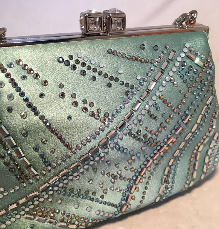 Judith Leiber Teal Silk and Swarovski Crystal Mini Evening Bag  For Sale 3