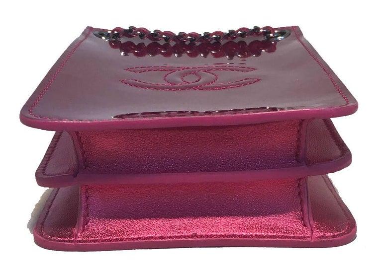 c36fe0d3b15146 Women's Chanel Pink Patent Leather CC Logo Mini Pouch Crossbody Shoulder Bag  For Sale