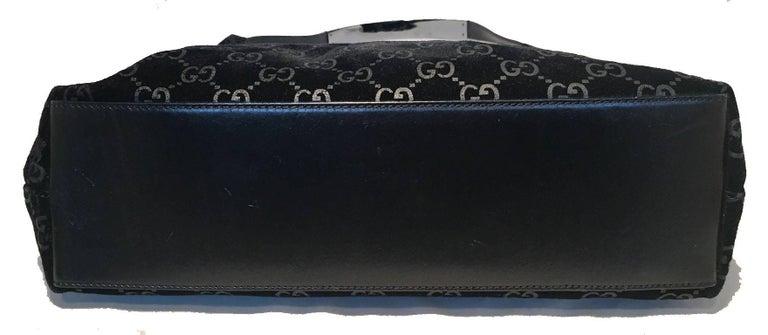 Women's Gucci Black Suede Monogram Hobo Shoulder Bag For Sale