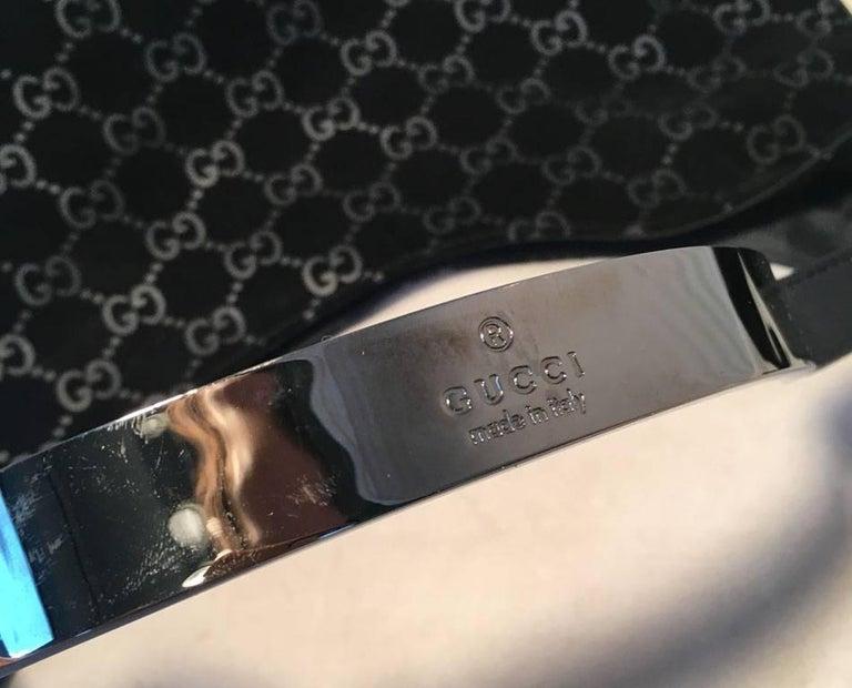 Gucci Black Suede Monogram Hobo Shoulder Bag For Sale 1