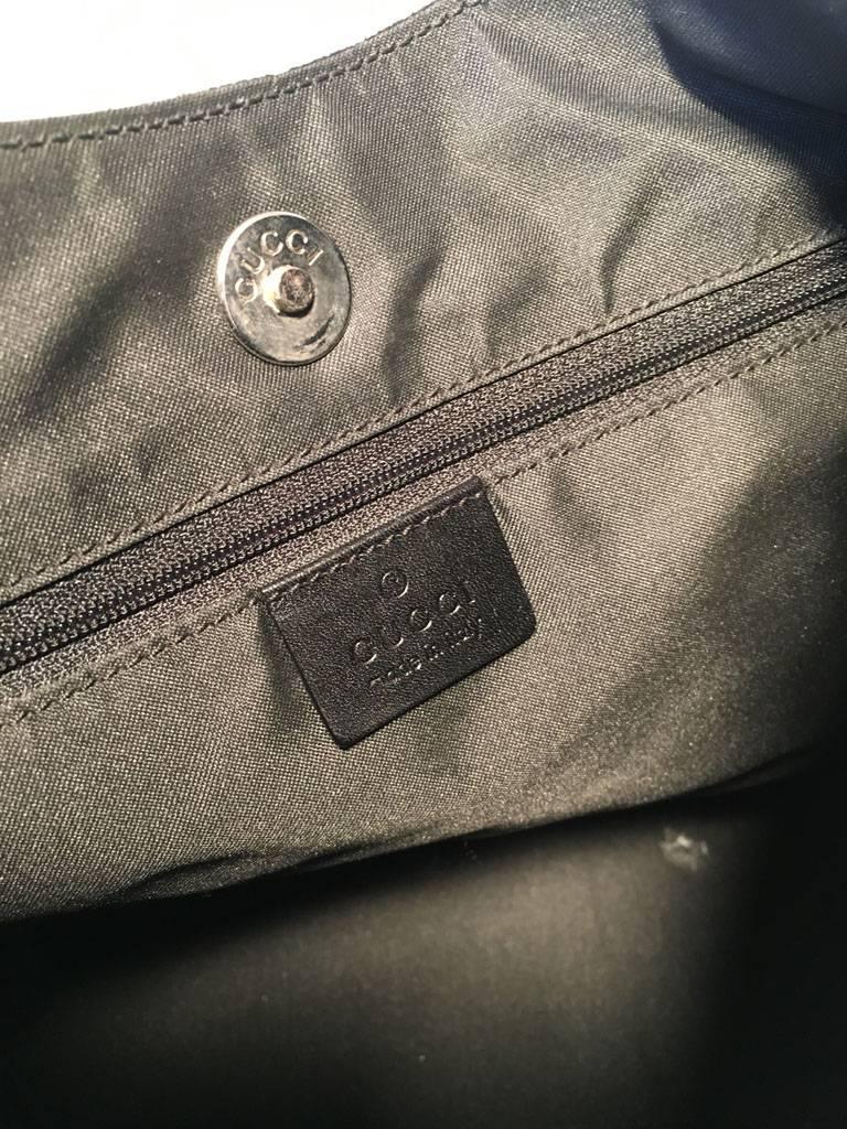 Gucci Black Suede Monogram Hobo Shoulder Bag For Sale 3