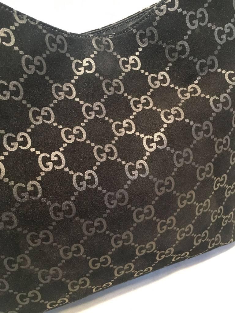 Gucci Black Suede Monogram Hobo Shoulder Bag For Sale 5