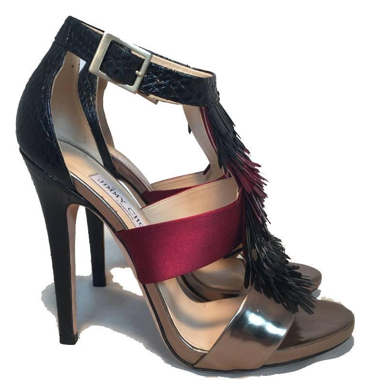 Jimmy Choo Black Purple and Gunmetal Fringe Trim Strap Heels Size 38 In Excellent Condition For Sale In Philadelphia, PA