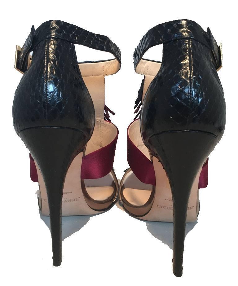 Women's Jimmy Choo Black Purple and Gunmetal Fringe Trim Strap Heels Size 38 For Sale