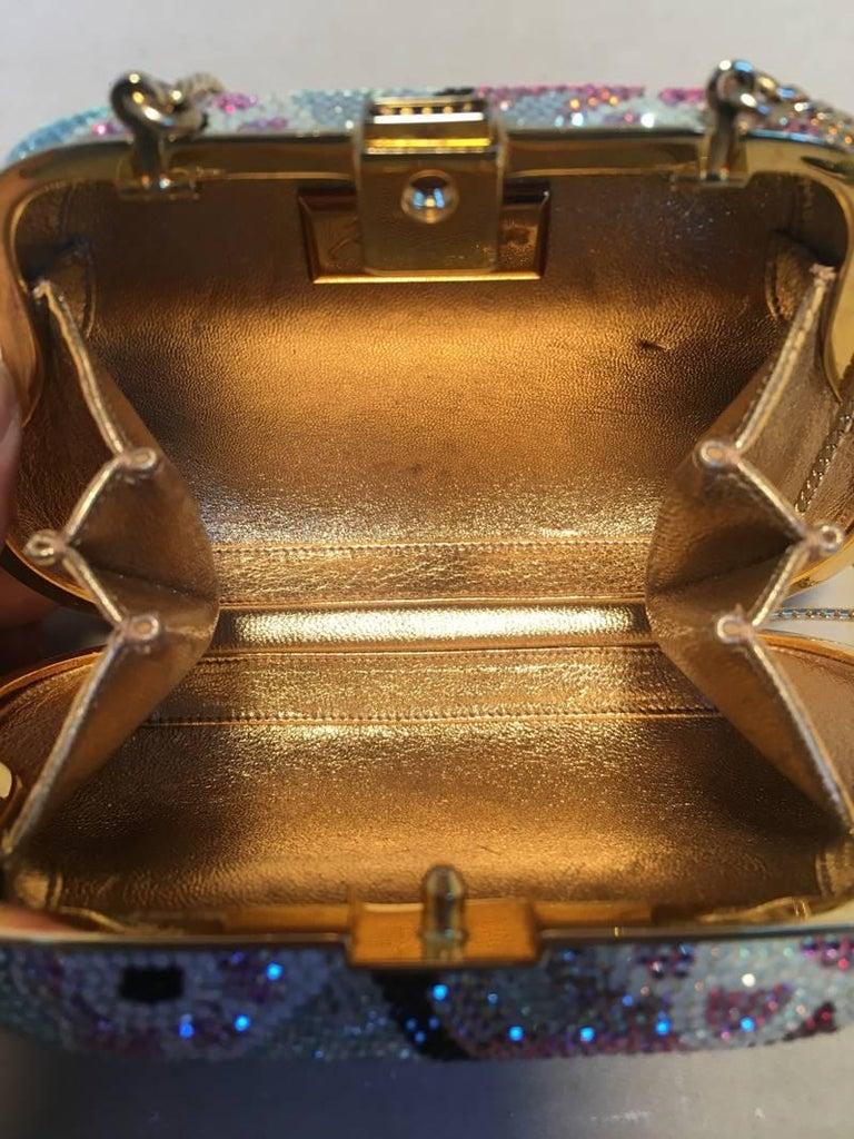 Judith Leiber Swarovski Crystal Mutlicolored Mini Purse Minaudiere Evening Bag For Sale 1