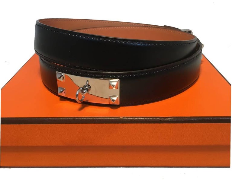 Brown Hermes 95cm Black Leather Silver PDH Belt For Sale