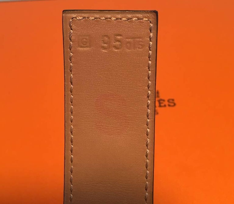 Hermes 95cm Black Leather Silver PDH Belt For Sale 1