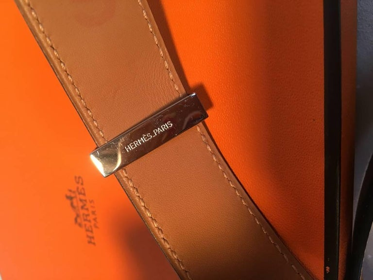 Hermes 95cm Black Leather Silver PDH Belt For Sale 2