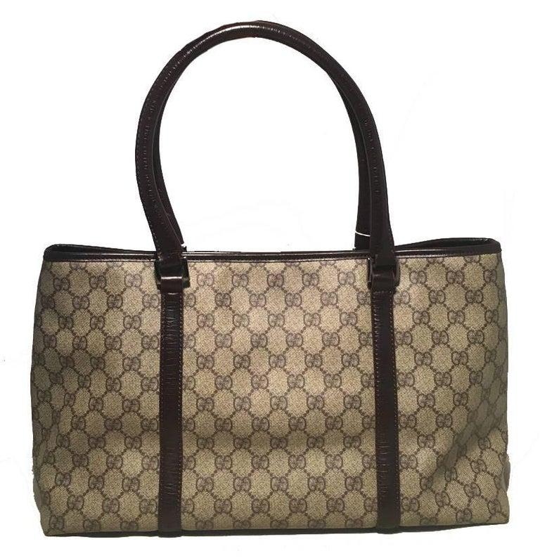 Gucci Monogram Joy Tote PM Dark Brown In Excellent Condition For Sale In Philadelphia, PA