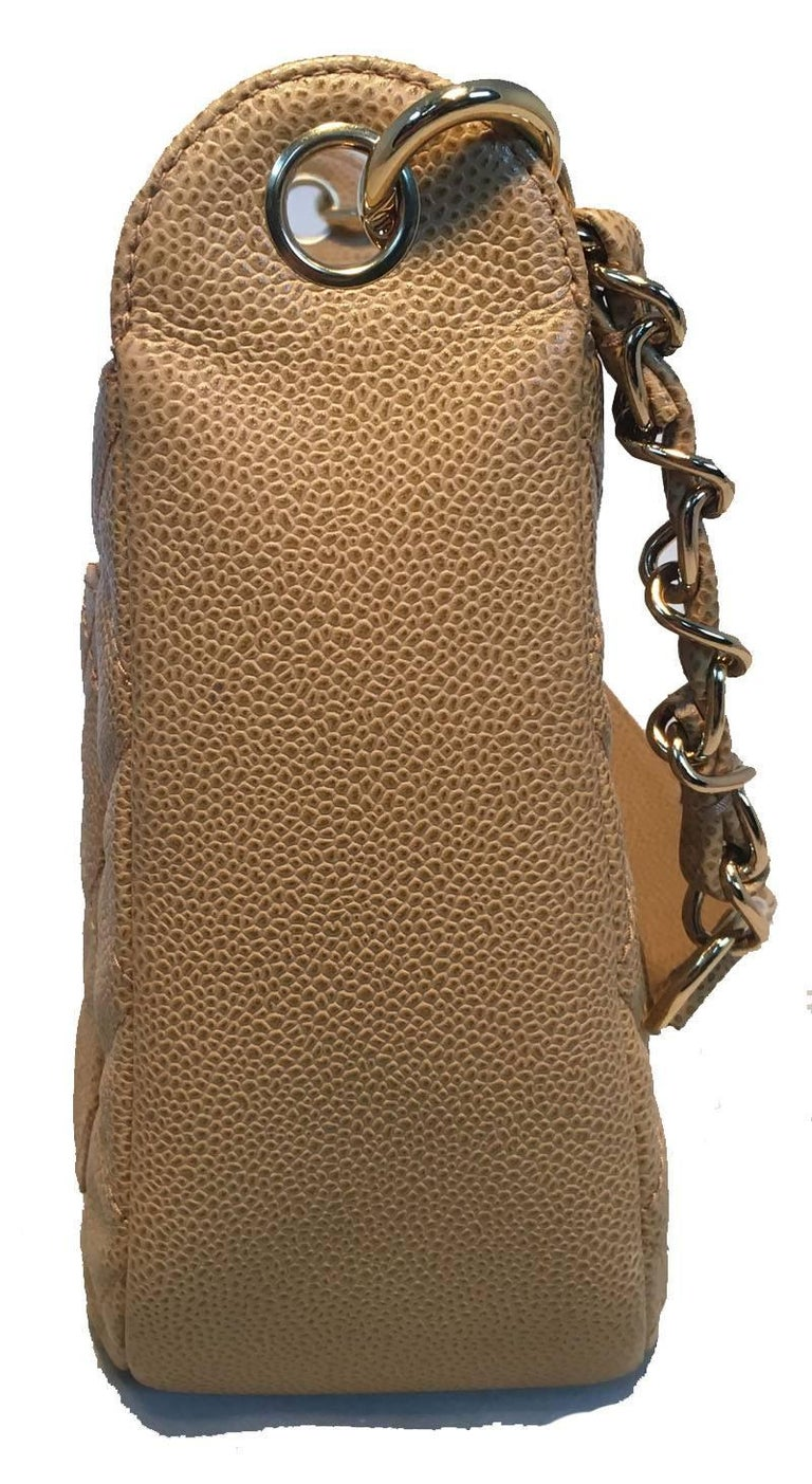 Brown Chanel Tan Quilted Caviar Leather Shoulder Bag For Sale