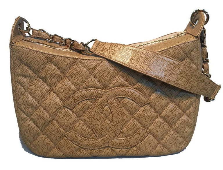 Women's Chanel Tan Quilted Caviar Leather Shoulder Bag For Sale