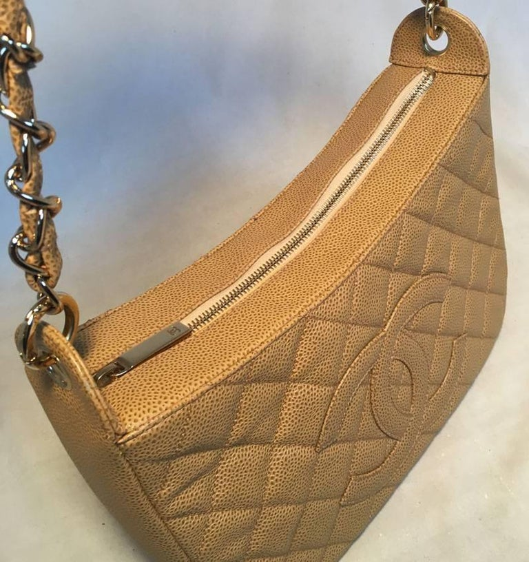 Chanel Tan Quilted Caviar Leather Shoulder Bag For Sale 1