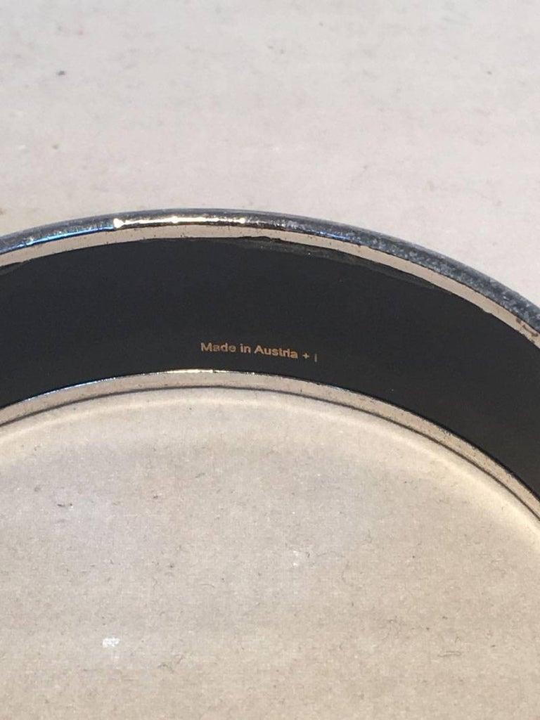 Hermes Vintage Black Printed Bridle and Whip Enamel Bangle Bracelet For Sale 2