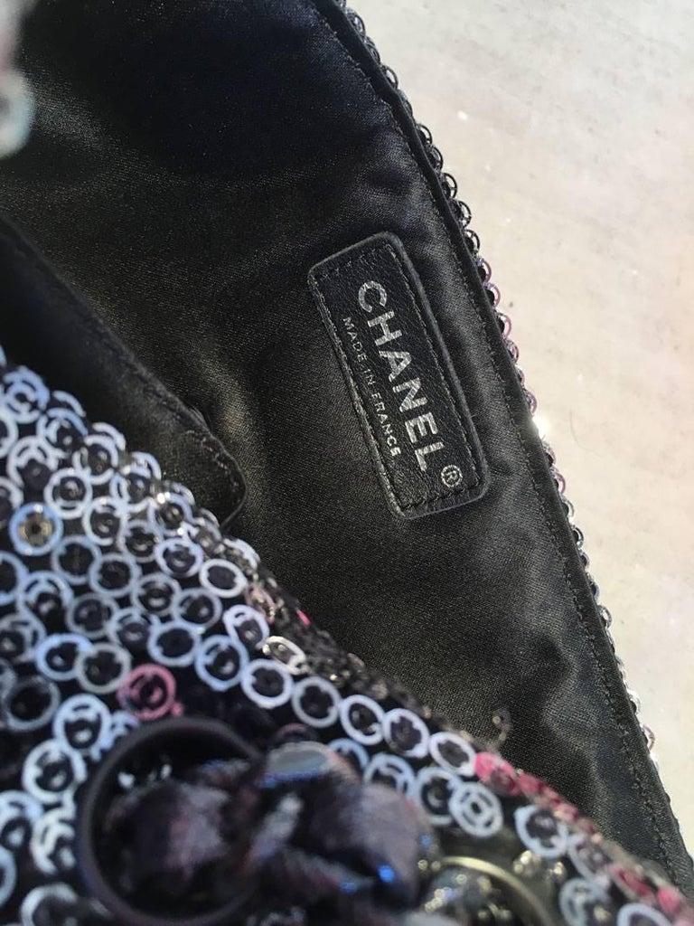 85446964c2e0 Chanel Silver Paillette Sequin Classic Flap Shoulder Bag For Sale at ...