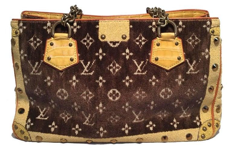 Brown Louis Vuitton Limited Edition Trompe L'oeil Le Fabuleux Velvet Shoulder Bag For Sale