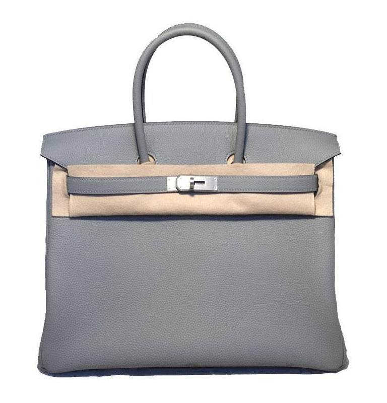 Orange Hermes Custom Made Grey 35cm Togo Birkin Bag, 2017  For Sale