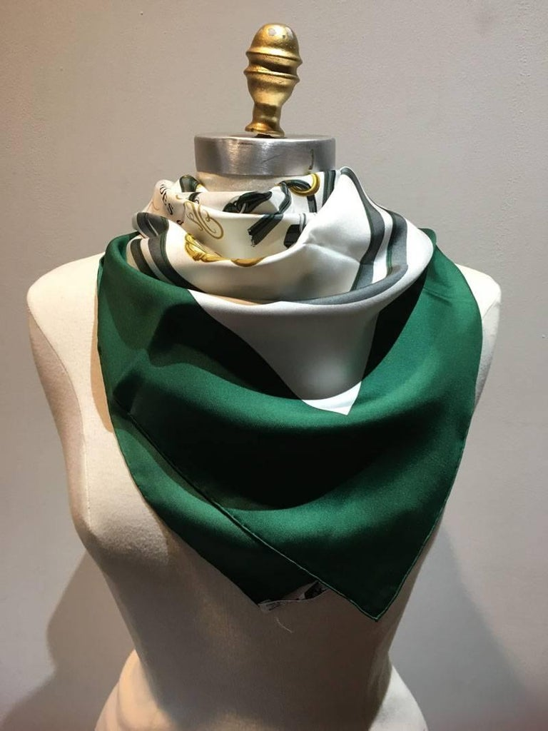 Hermes Vintage Hunter Green Brides de Gala Silk Scarf  In Excellent Condition For Sale In Philadelphia, PA
