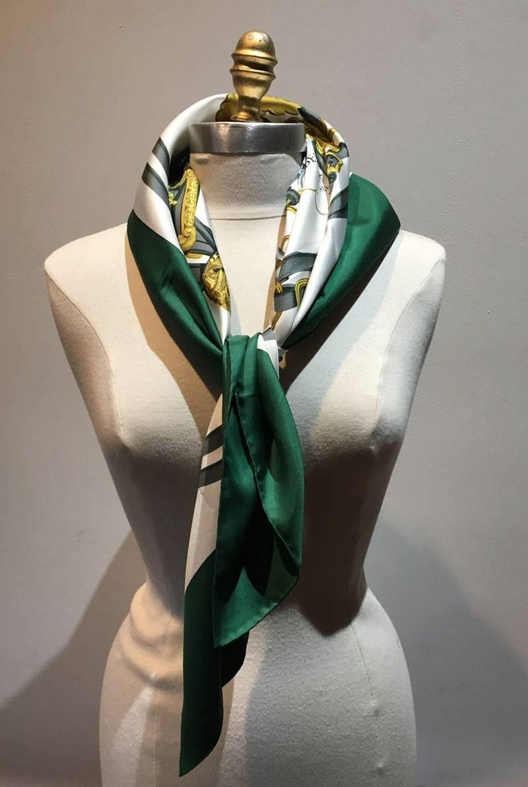 Hermes Vintage Hunter Green Brides De Gala Silk Scarf At