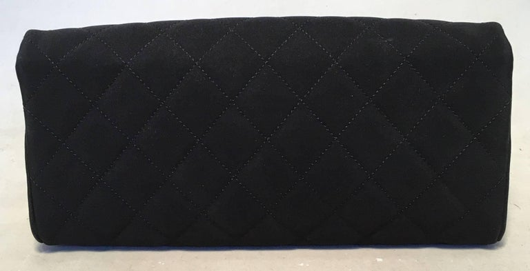 Chanel Black and White Quilted Silk and Nylon Camellia Flower Clutch with Strap 3