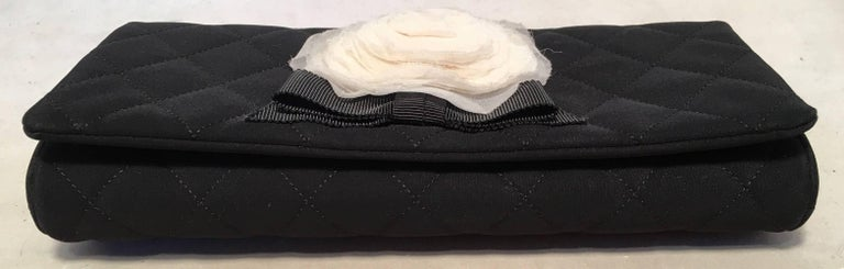 Chanel Black and White Quilted Silk and Nylon Camellia Flower Clutch with Strap For Sale 5