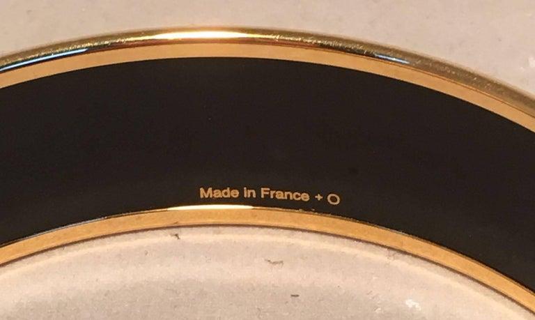 Women's Hermes Teal and Purple Geo Print Gold Enamel Bangle Bracelet  For Sale